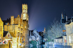 BRUSSELS, BELGIUM - DECEMBER 05 2016 - Bruges canal at night, Belgium Stock Image