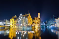 BRUSSELS, BELGIUM - DECEMBER 05 2016 - Bruges canal at night, Belgium Stock Photography
