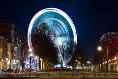 BRUSSELS, BELGIUM - DECEMBER 05 2016 - Ferris wheel at the Christmas Market in the Saint Catherine square Stock Photography