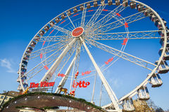 BRUSSELS, BELGIUM - DECEMBER 05 2016 - Ferris wheel at the Christmas Market in the Saint Catherine square Stock Images
