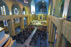 BRUSSELS, BELGIUM - DECEMBER 05 2016 - Interior of the National Basilica of the Sacred Heart Koekelberg Royalty Free Stock Photos