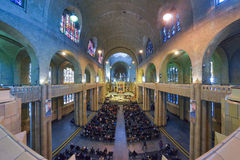 BRUSSELS, BELGIUM - DECEMBER 05 2016 - Interior of the National Basilica of the Sacred Heart Koekelberg Royalty Free Stock Images