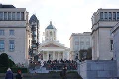 Mont des Arts, Place de l`Albertine in Brussels, Belgium stock photo