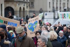 Brussels, Belgium - December 2, 2018 - More than 75000 people took on the streets of Brussels during the ClaimTheClimate march. To request stronger political stock photos