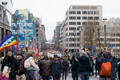 Brussels, Belgium - December 2, 2018 - More than 75000 people took on the streets of Brussels during the ClaimTheClimate march. To request stronger political royalty free stock photos