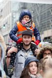 Brussels, Belgium - December 2, 2018 - More than 75000 people took on the streets of Brussels during the ClaimTheClimate march stock photo