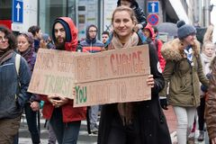 Brussels, Belgium - December 2, 2018 - More than 75000 people took on the streets of Brussels during the ClaimTheClimate march royalty free stock photography