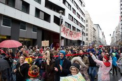 Brussels, Belgium - December 2, 2018 - More than 75000 people took on the streets of Brussels during the ClaimTheClimate march. To request stronger political stock photo