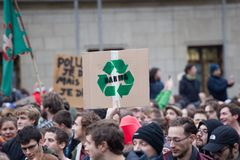 Brussels, Belgium - December 2, 2018 - More than 75000 people took on the streets of Brussels during the ClaimTheClimate march. To request stronger political royalty free stock photo