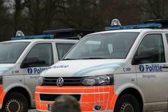 Belgian Federal Police van. Brussels, Belgium - December 7, 2017: Police van. The Politie, Federal Police, is the Law enforcement in Belgium stock photos