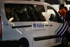 Federal Police vehicle in Brussels, Belgium. Brussels, Belgium - December 6, 2017: Police van. The Politie, Federal Police, is the Law enforcement in Belgium royalty free stock photo