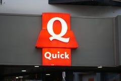 Quick Restaurant signboard. Brussels, Belgium - December 9, 2017: Quick Restaurant signboard. Quick Restaurants is an originally Belgian chain of hamburger fast Stock Images