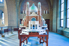 BRUSSELS, BELGIUM - DECEMBER 05 2016 - Scale model of the National Basilica of the Sacred Heart Koekelberg Stock Images