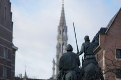 The Statue of Don Quixote and Sancho Panza in Brussels royalty free stock images