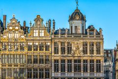 Brussels, Belgium. Facade of houses on Grand Place and Maison du Roi historic squares and a must-see sight of Bruxelles.  royalty free stock photo