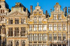 Brussels, Belgium. Facade of houses on Grand Place and Maison du Roi historic squares and a must-see sight of Bruxelles.  stock photography