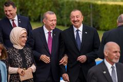 Emine Erdogan, Recep Tayeep Erdogan, Ilham Aliyev Royalty Free Stock Photography