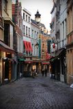 View of the Rue des Bouchers in the center of old Brussels. royalty free stock image
