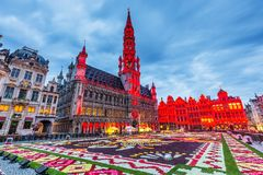 Brussels, Belgium. Grand Place during 2018 Flower Carpet festival. This year theme was Mexico stock photo