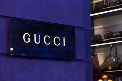 Brussels, brussels/belgium - 13 12 18: gucci store sign in brussels belgium. Brussels, brussels/belgium - 13 12 18: an gucci store sign in brussels belgium stock images