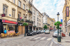 BRUSSELS, BELGIUM - JULY 07, 2016 : City views cozy European cit Royalty Free Stock Photography