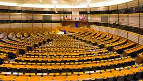 EU European Parliament. BRUSSELS, BELGIUM - JULY 30, 2014: The EU European Parliament Room in Brussels royalty free stock photos