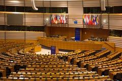 EU European Parliament Room. BRUSSELS, BELGIUM - JULY 30, 2014: The EU European Parliament Room in Brussels royalty free stock photos