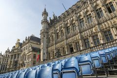 Grand Place Square with established. Brussels, Belgium - July 04, 2018: Grand Place Square with established stock photography