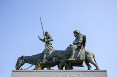 Monument to Don Quixote and Sancha Panza in Brussels Stock Photos