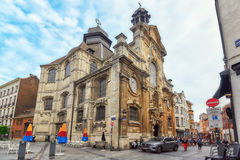 BRUSSELS, BELGIUM - JULY 07, 2016 : The Old church in cozy Europ Royalty Free Stock Photo
