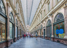 BRUSSELS, BELGIUM - JUNE 16, 2014: Royal Galeries of st. Hubert. Stock Images