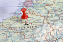 Brussels,Belgium on a Map. A red push-pin marking Brussels on a map of Belgium Royalty Free Stock Image