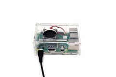 Brussels, Belgium - March 18, 2017 : illustrative editorial image showing Raspberry Pi 3 single-board computer. Is developed by the Raspberry Pi foundation and stock photography