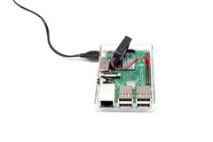 Brussels, Belgium - March 18, 2017 : illustrative editorial image showing Raspberry Pi 3 single-board computer. Stock Images