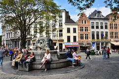 Brussels, Belgium - May 12, 2015: People at Place d'Espagne (Spanish Sqaure) in Brussels Royalty Free Stock Image