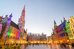 Brussels, Belgium - May 13, 2015: Tourists visiting famous Grand Place of Brussels Royalty Free Stock Images