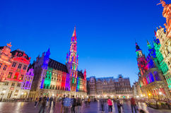 Brussels, Belgium - May 13, 2015: Tourists visiting famous Grand Place of Brussels Stock Images