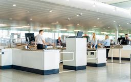 Brussels, Belgium, May 2019 Brussels airport, hand luggage and passengers scanning and  inspection stock photos