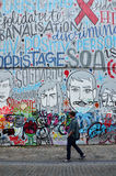 Brussels, Belgium - May 12, 2015: The graffiti on the house wall Stock Photos