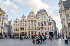 Brussels, Belgium - May 13, 2015: Many tourists visiting famous Grand Place of Brussels. Stock Photo
