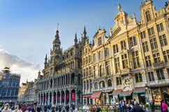 Brussels, Belgium - May 13, 2015: Many tourists visiting Grand Place of Brussels. Royalty Free Stock Photography
