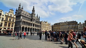 Brussels, Belgium - May 13, 2015: Many tourists visiting Grand Place, the central square of Brussels. stock video footage