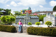 BRUSSELS, BELGIUM - 13 MAY 2016: Miniatures at the park Mini-Europe - reproductions of monuments in the European Union at a scale Royalty Free Stock Photos