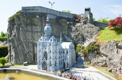 BRUSSELS, BELGIUM - 13 MAY 2016: Miniatures at the park Mini-Europe - reproductions of monuments in the European Union at a scale royalty free stock photo