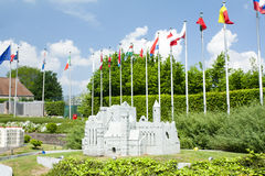 BRUSSELS, BELGIUM - 13 MAY 2016: Miniatures at the park Mini-Europe - reproductions of monuments in the European Union at a scale Royalty Free Stock Image
