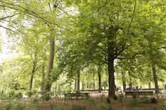 Park with people strolling in Brussels capital of Belgium. Royalty Free Stock Photos