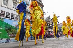 Participants of the Zinneke Parade 2018, Brussels Royalty Free Stock Photography