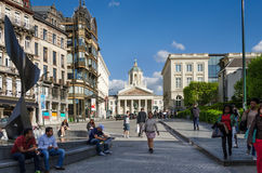 Brussels, Belgium - May 13, 2015: Peoples around Church of Saint Jacques-sur-Coudenberg Royalty Free Stock Photo