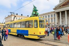 BRUSSELS, BELGIUM - MAY 1, 2019: 150TH ANNIVERSARY OF THE TRAMWAY IN BRUSSELS, 150EME ANNIVERSAIRE DU TRAMWAY A BRUXELLES.  stock photography