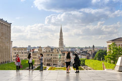 Brussels, Belgium - May 12, 2015: Tourist visit Kunstberg or Mon. T des Arts (Mount of the arts) gardens in Brussels, Belgium. The Mont des Arts offers one of royalty free stock photos